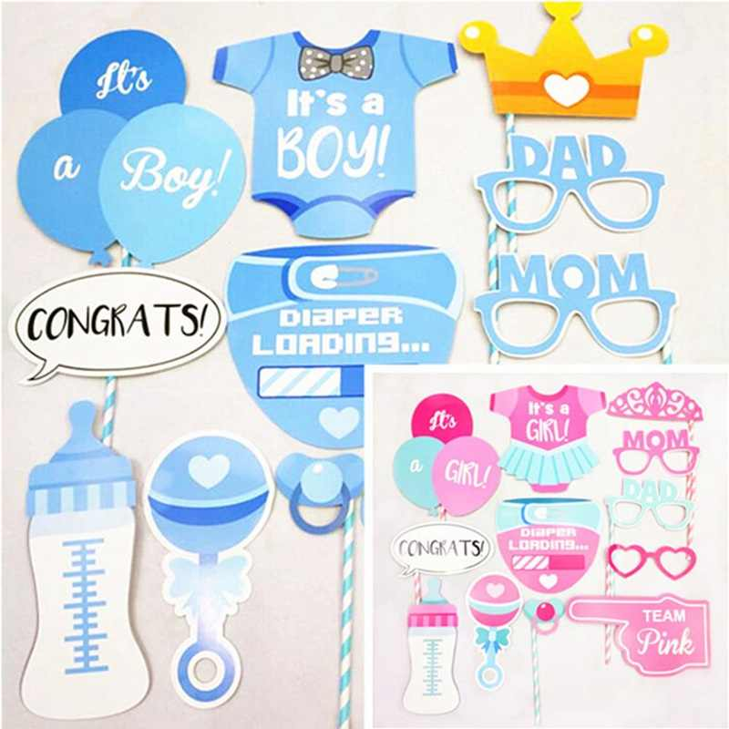1set New Baby Shower Photo Booth Games Babyshower Photobooth Props Its A Boy Girl Favors Party Decoration Supplies