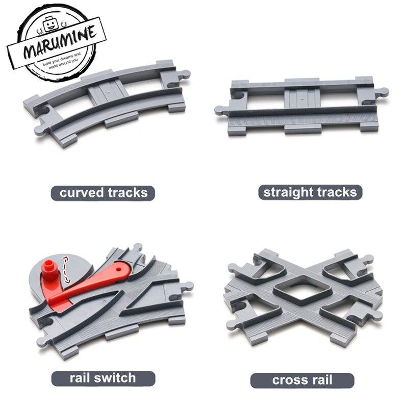 Marumine Blocks Duplo Toy Train Track Crossover Parts Railway Switch Building Bricks Gift for Children