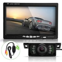 7 Inch TFT LCD Car Rearview Reverse Monitor Wireless Transmitter 7 LED IR Camera Kit