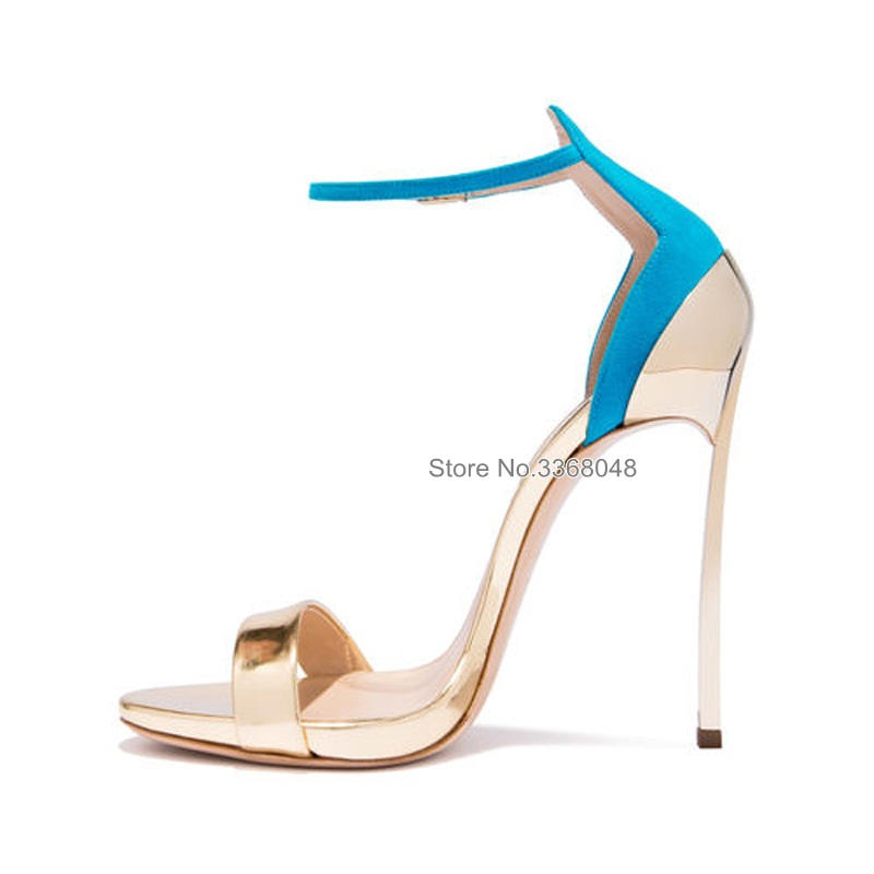 Fashion Mixed Colors Sexy <font><b>12</b></font> <font><b>CM</b></font> Heels Women <font><b>Sandals</b></font> Metal Heels Ankle Straps Cover Heel Open Toe Summer Stiletto Shoes image