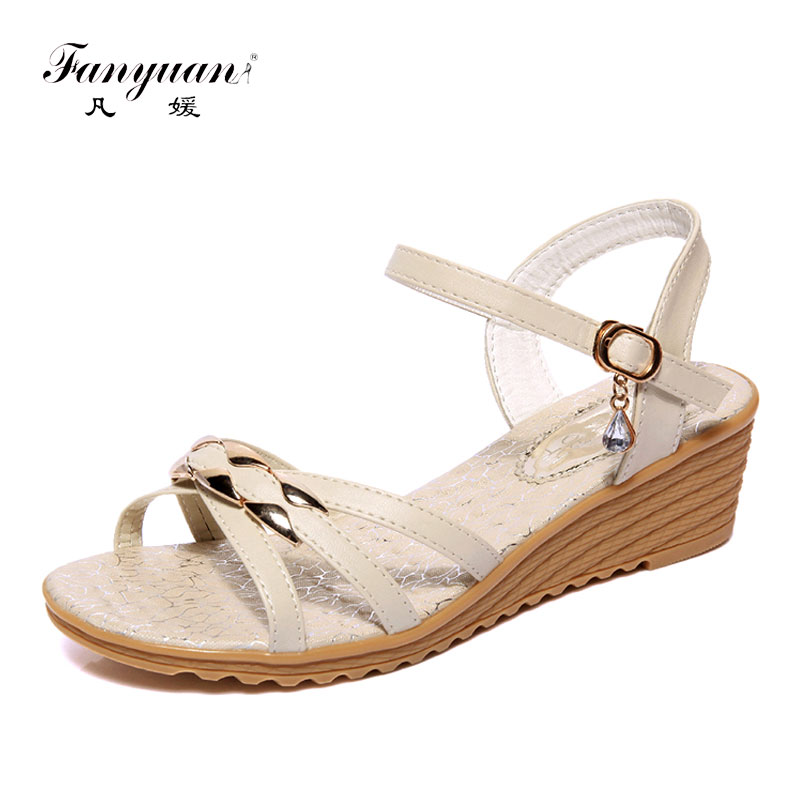 Fanyuan Wedge Sandals Woman Casual Soft Outsole Women Wedges High Heels Sandals Mental Buckle Ladies Summer Sandals Footwear new women sandals low heel wedges summer casual single shoes woman sandal fashion soft sandals free shipping
