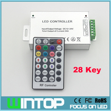 High Quality 24A 28 keys RF control RGB led controller DC 12V-24V for 5050 / 3528 led strip
