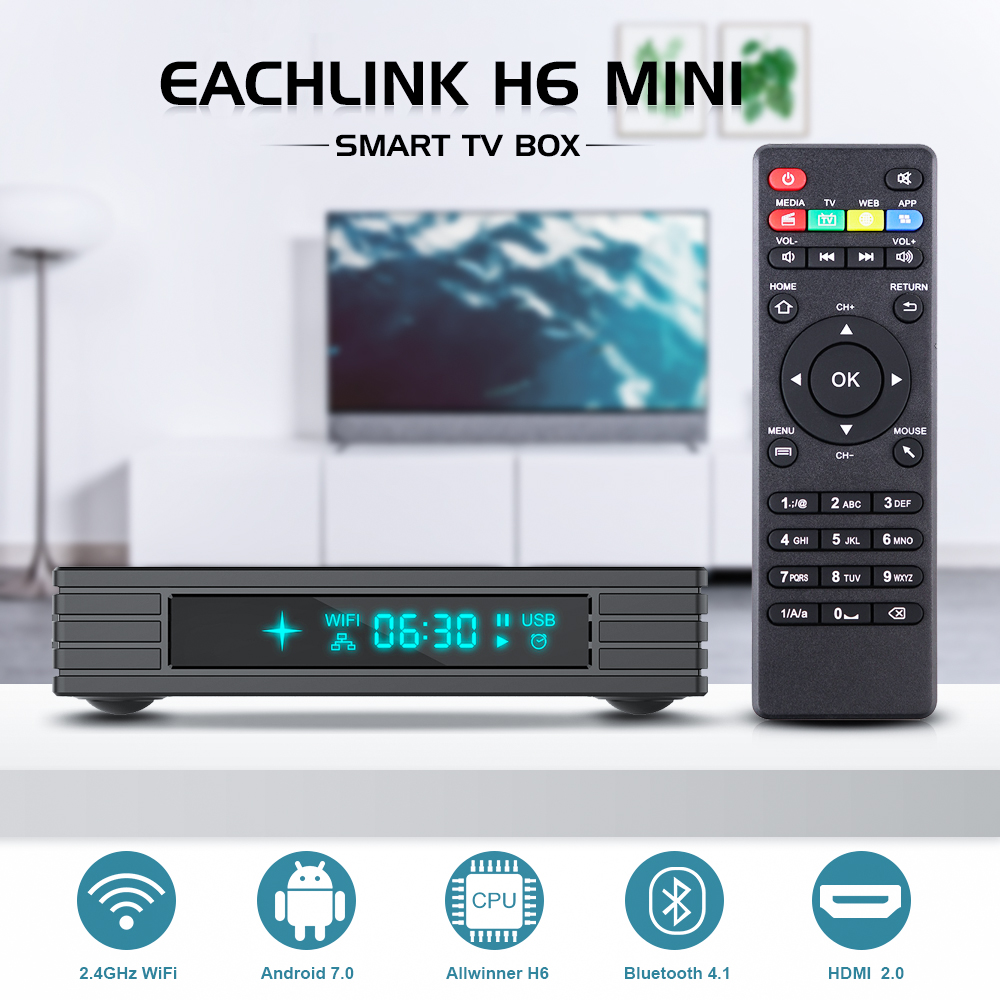 EACHLINK H6 Mini caja de TV inteligente Android 7,0 Allwinner H6 3 GB RAM + 32 GB ROM 2,4G WiFi 100 Mbps USB3.0 BT4.1 Set Top caja de 6 K H.265