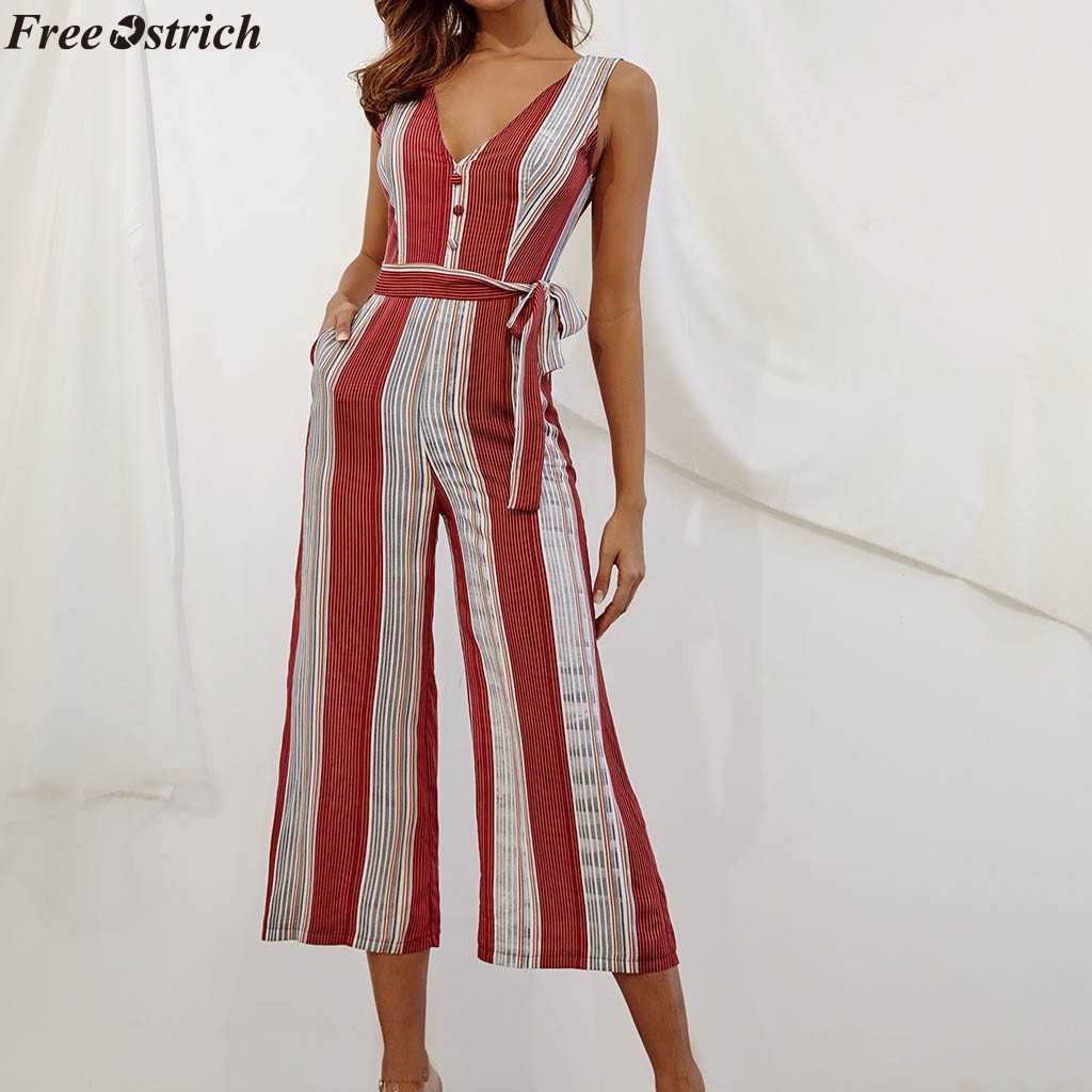 FREE OSTRICH Female Slim Fit Vertical Stripe V-neck Long Jumpsuits Fashion Ladies Button Business Casual Wide Rompers Plus Size