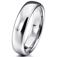 Women Men S Wide 6mm Tungsten Ring Band Silver Comfort Fit Classic Wedding Plain Dome Polished