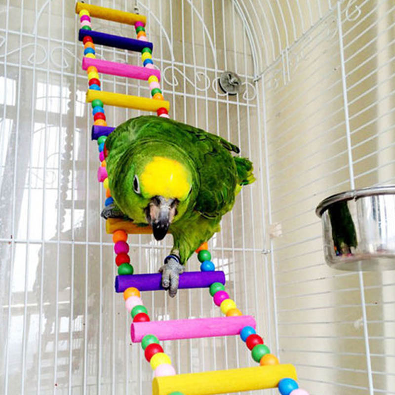 Parrot Climbing Ladder Wooden Swing Bridge Bird Cage Hanging Toy For Conures Cockatiel Budgie @LS