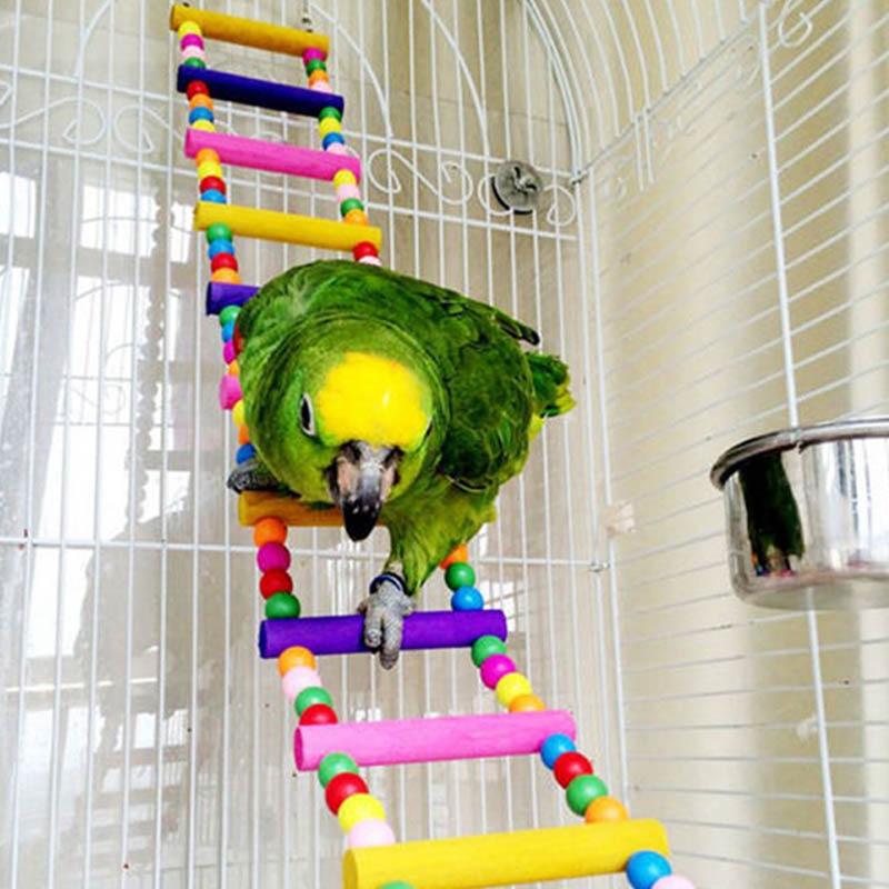 Parrot Climbing Ladder Wooden Swing Bridge Bird Cage Hanging Toy For Conures Cockatiel Budgie @LS