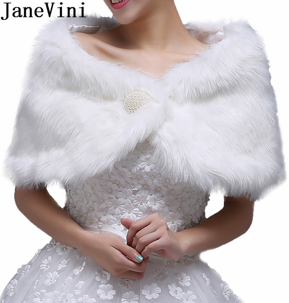 JaneVini 2018 Cheap White Cape Bridal Fur Shawls And Wraps Women Bolero Winter Warm Short Coat Jacket Stoles Wedding Accessories