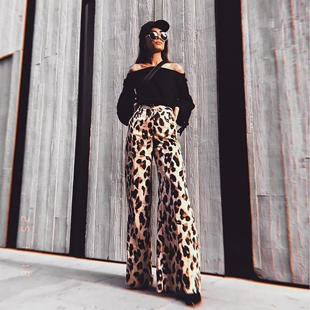 New Arrival Hot Sale 2019 Spring New Women Leopard Print   Wide     Leg     Pants   Sexy Fashion High Waist   Pants   Casual Loose Trousers