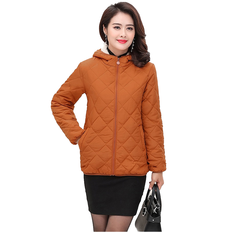 Autumn Winter Short Jacket Women Cotton Coat Flocking Thick Warm Parkas Middle Aged Female Plus Size Hooded Cotton Jackets H623