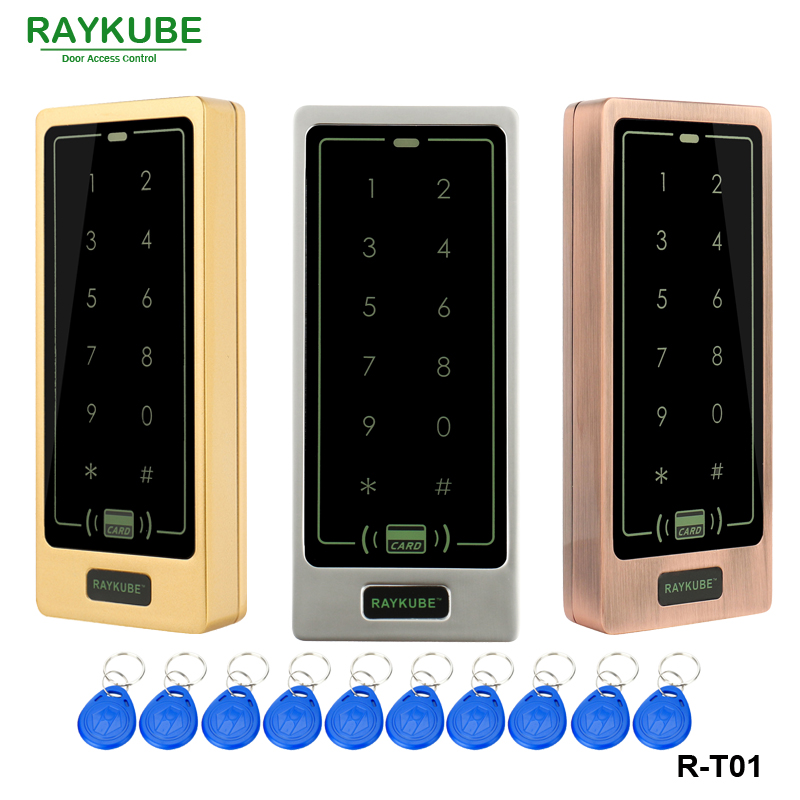 RAYKUBE Access Control Keypad With RFID Reader Touch Digit Backlight Keypad For Access Control System Metal Case Shell waterproof touch keypad card reader for rfid access control system card reader with wg26 for home security f1688a