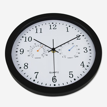 Silent Quartz Metal Wall Clock Thermometer Hygrometer Quiet Sweep Movement No-ticking Home Art Decor New Design