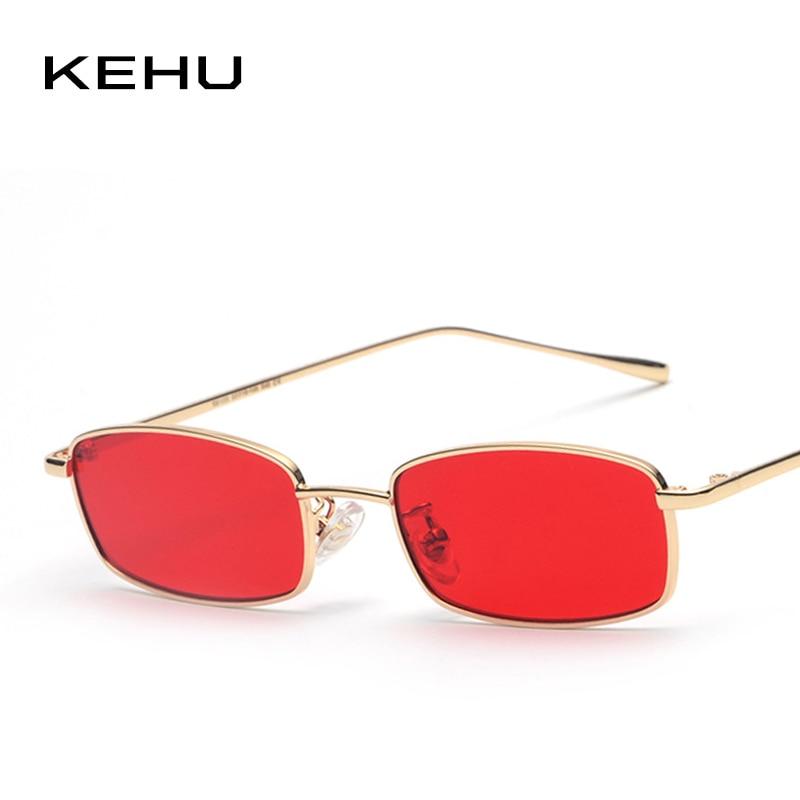 KEHU 2018 New Fashion Square Sunglasses Women Prevent Bask Glasses Alloy Frame Women Sunglasses Brand Design Red Glasses K9369