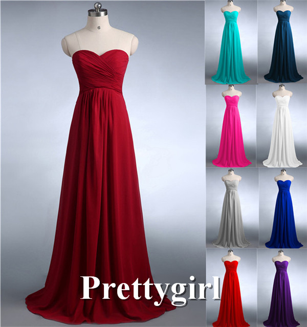 ZJ0039 wine red mint green coral hunter jade colored chiffon strapless prom party dresses new fashion 2016 bridesmaid dress long