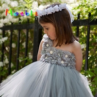 Shabby Flowers Children Girl Tutu Dress Girl Summer Clothing Tulle Dress Girls Evening Dress For Prom