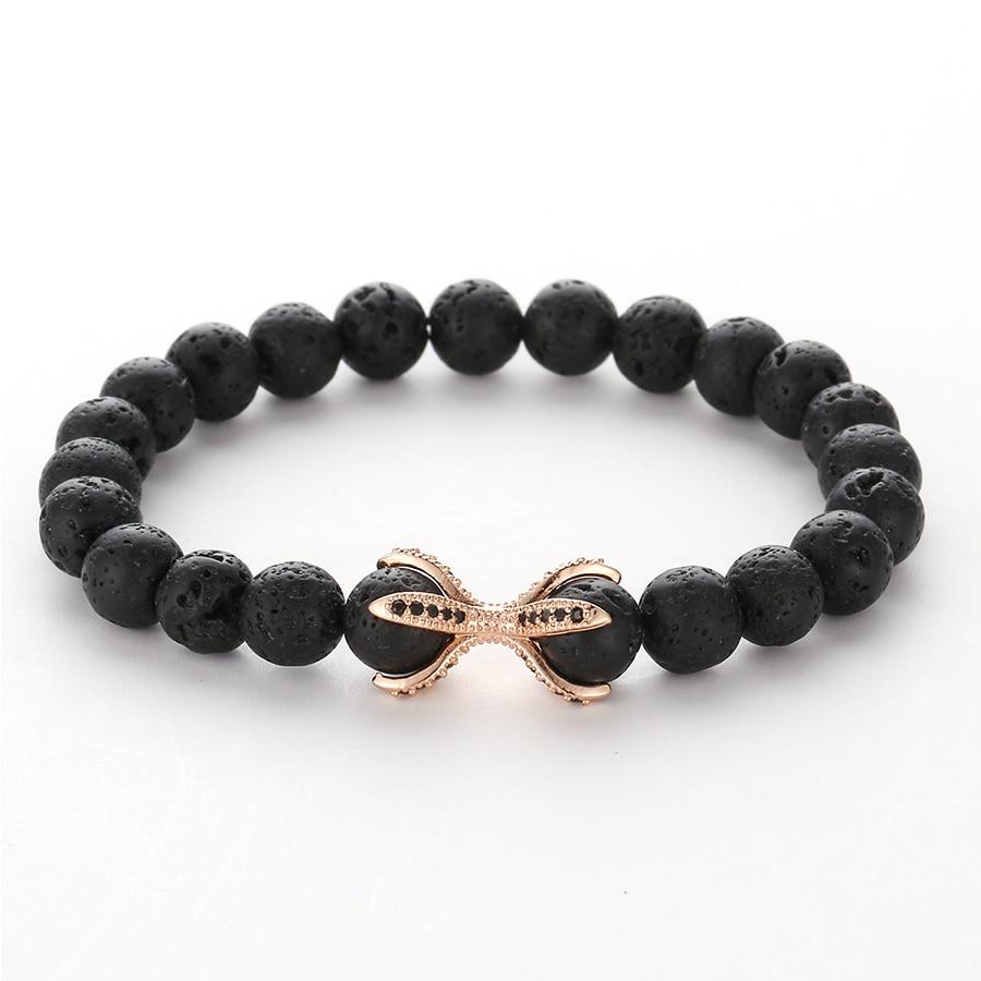 HOBBORN Trendy Men Natural Stone Bracelet Handmade 8mm Lava Stone Beads Healing Reiki Prayer Balance Women Meditation Jewelry in Charm Bracelets from Jewelry Accessories