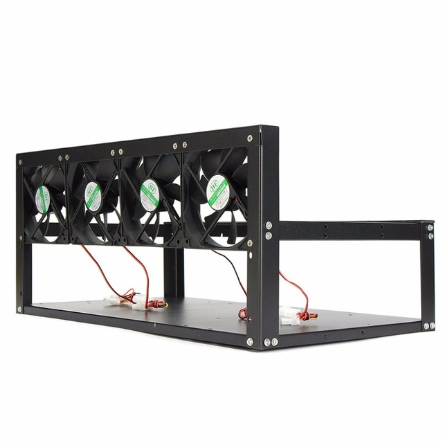 US $81 16 |6 Graphics Card GPU Mining Rig Aluminum Case with 4 12cm Fans  Open Air Frame for ETH ZEC for Bitcoin Mining Case Kit-in Computer Cases &