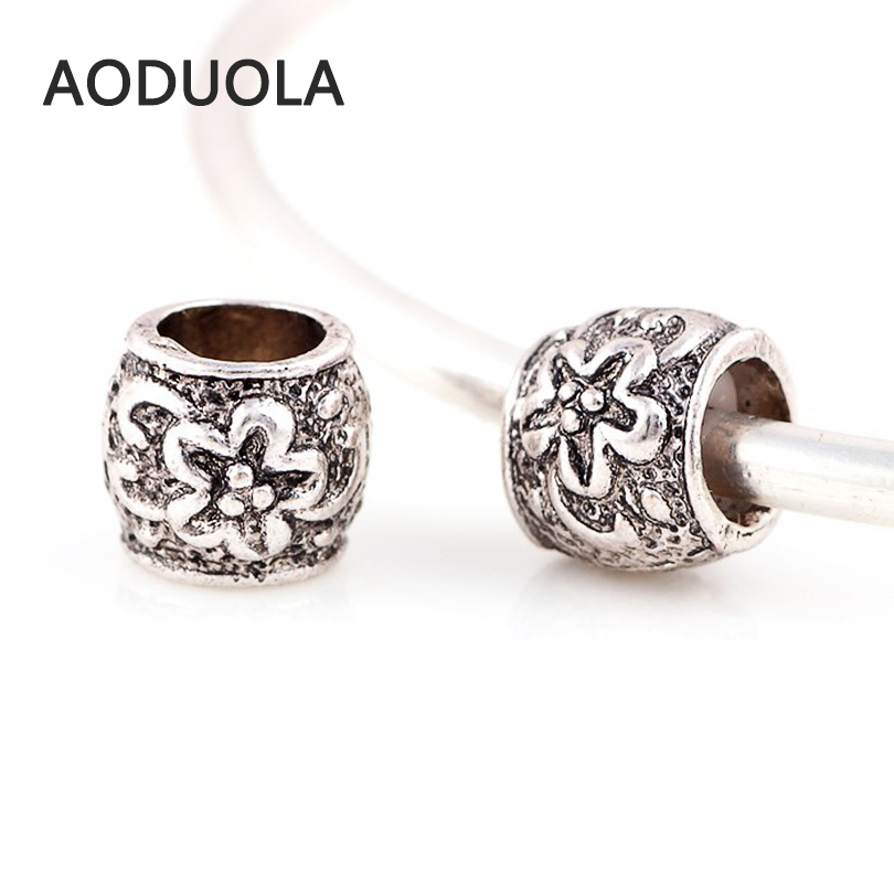 1PC Flower European Charm Spacer Bead Jewelry Making Findings Cylinder DIY