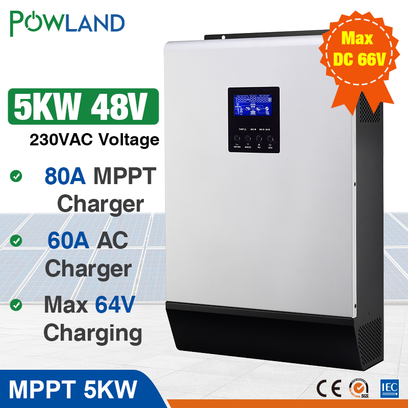 5000W Solar Inverter 80A MPPT Off Grid Inverter 48V 220V Hybrid Inverter Pure Sine Wave Inverter