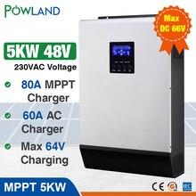 5000W falownik solarny 80A MPPT inwerter Off Grid 48V 220V hybrydowy falownik czysta fala sinusoidalna przetwornica 60A ładowarka baterii