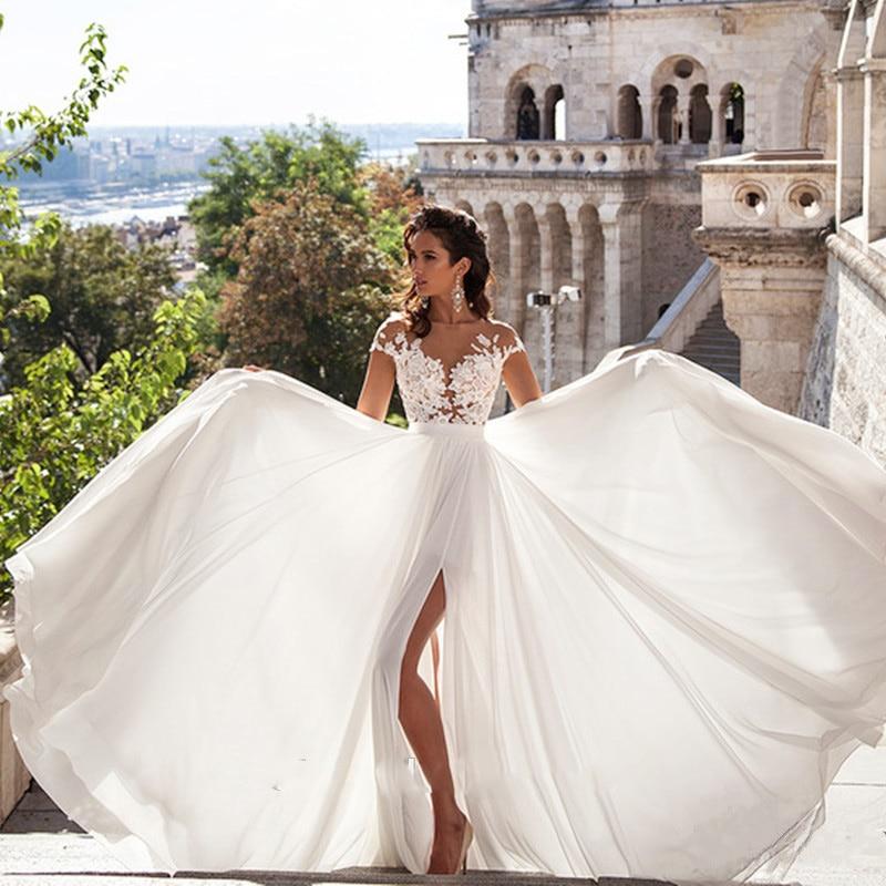 playa vestidos de boda 2019 boho boda vestidos chiffon apliques de