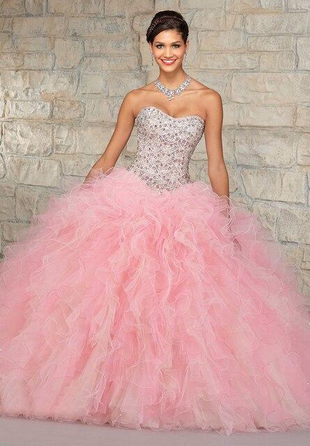Elegantes Vestidos Quinceanera 2016 vestido de Baile Organza Ruffled Tulle Saia Frisada Cristais Top Light Pink Vestidos de Debutante