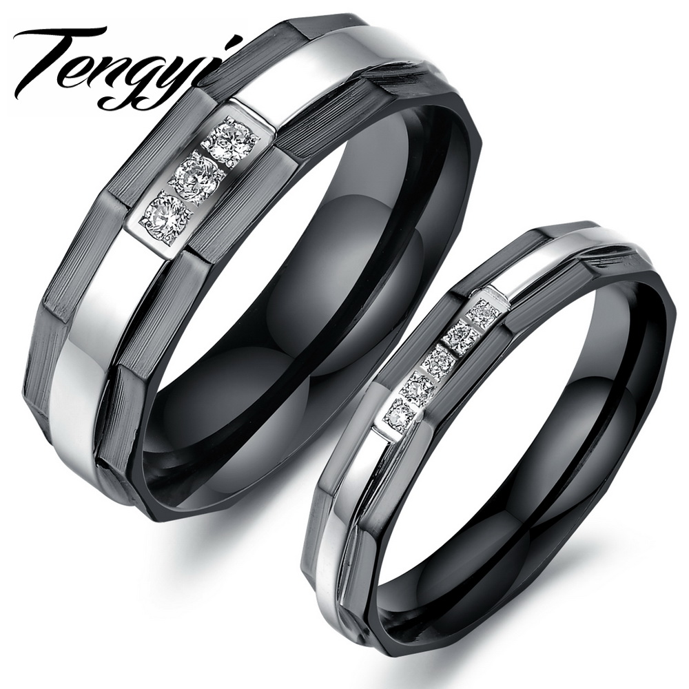 Black Stainless Steel Women Men Finger Jewelry Ring Cubic Zirconia Crystal Engagement  Ring Band For Him