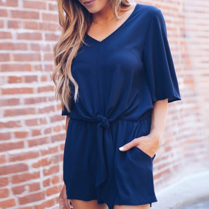 Half Sleeve Loose Summer Women Playsuits Beach V-neck Playsuit Shorts Romper Sexy Bandage Jumpsuit Female Pockets Overalls GV156