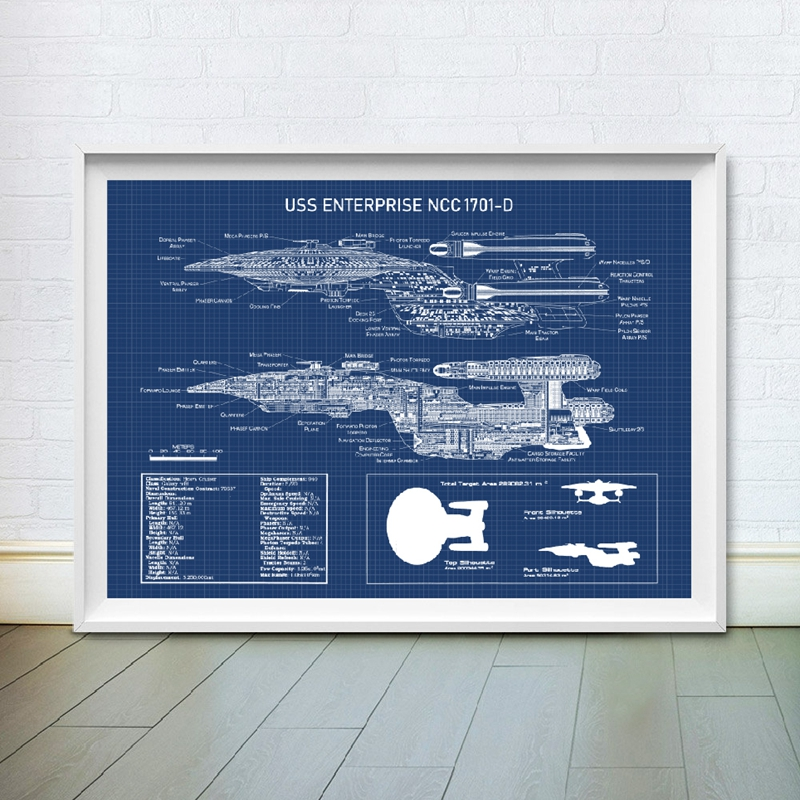 USS Enterprise <font><b>NCC</b></font> -<font><b>1701</b></font>-D Blueprint Posters and Prints Star Fleet Spaceship Boys Room Wall Art Canvas Painting Home Art Decor image