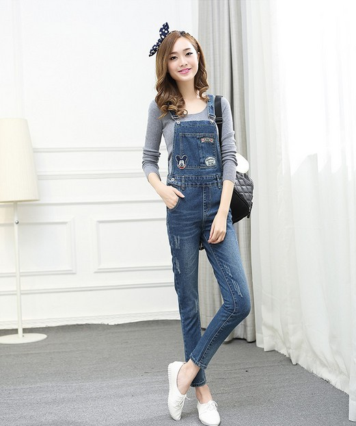 2015 fashion korean new women jumpsuit denim overalls casual skinny girls pants jeans cute mouse Fashion style girl hiver 2015