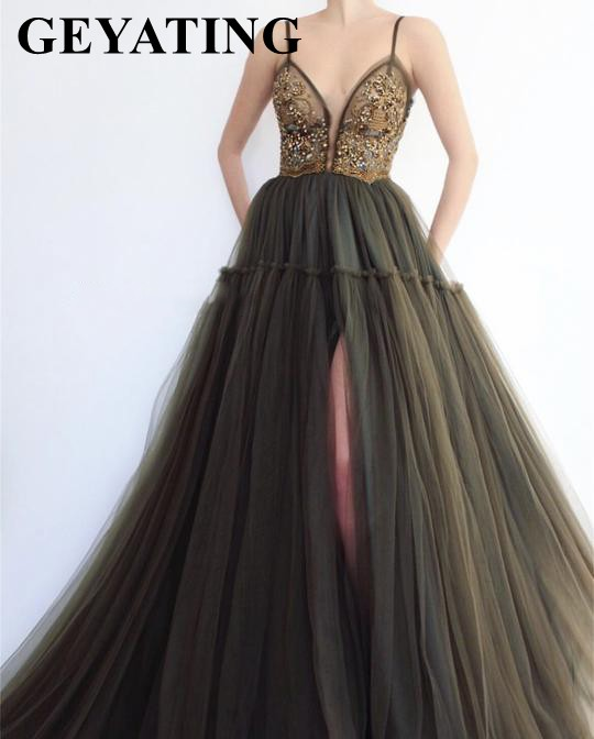 Olive Green Tulle Beaded Crystal V-Neck Prom Dresses With Straps High Split Long Puffy Evening Party Gowns Graduation Gala Dress