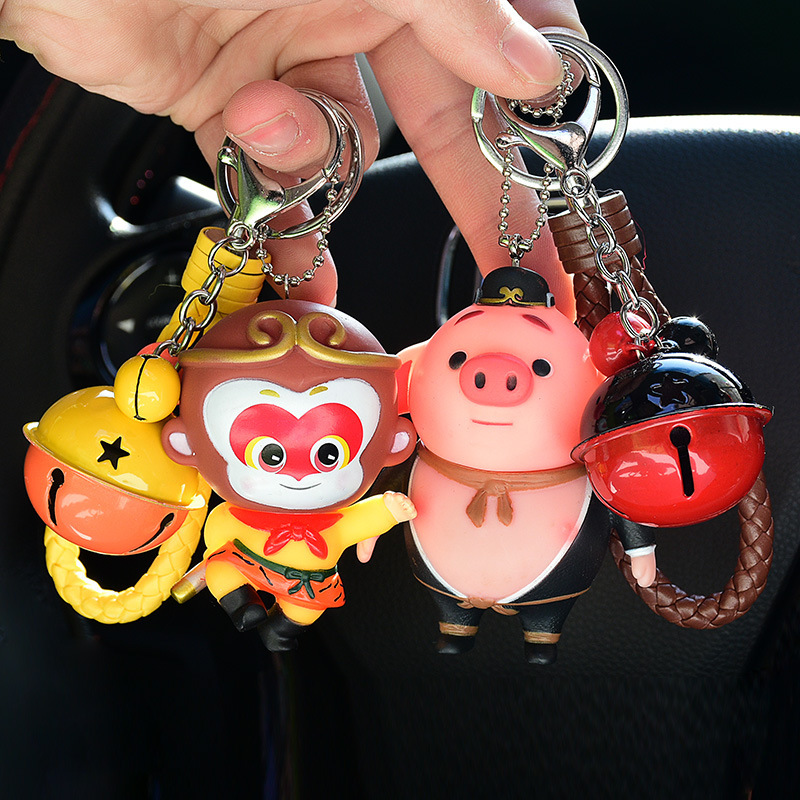 Animal Cute The Monkey King Pig Car Keychain Lovely Bag Pendant Bell Leather Rope Key Ring Holder Fluffy Fur Ball Keyring Pompom