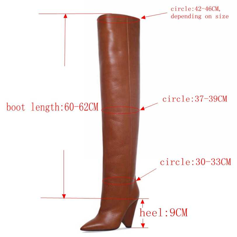 """9 ס""""מ עקבים גבוהים ירך גבוהה מגפי נעלי נשים פו פרווה חורף שלג נעל אישה שחור עור מעל הברך מגפי ארוך חורף אתחול"""