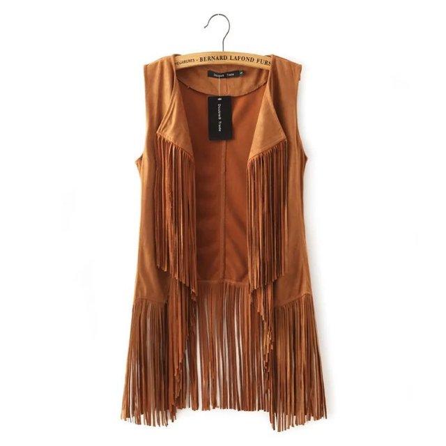 Европейский стиль женская нагрудные с бахромой кардиган жилет кисточкой свободного покроя черный / коричневый сексуальная женский жилет без рукавов куртка J245