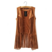 European Style Women'S Lapel Long  Fringed Cardigan Vest Tassel Casual Black/Brown Sexy Female Waistcoat Sleeveless Jacket J245