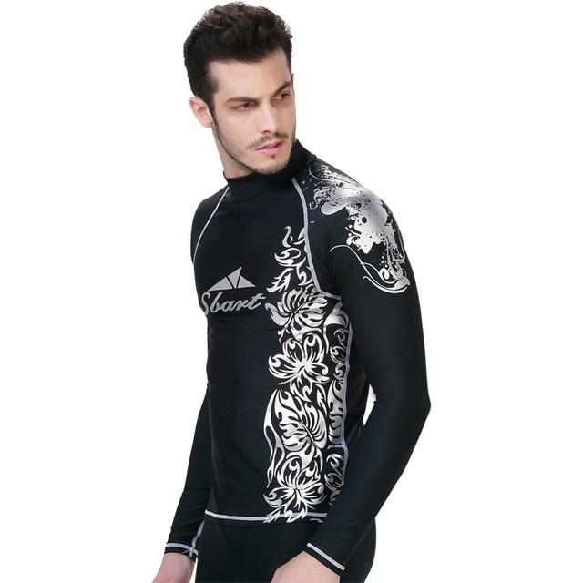 de7de7931d SBART long Sleeve Rash Guard Swimwear Surf Shirt And Shorts Scuba Diving  Suit Men Rashguard Swim Shirts Lycra Top Rashgard