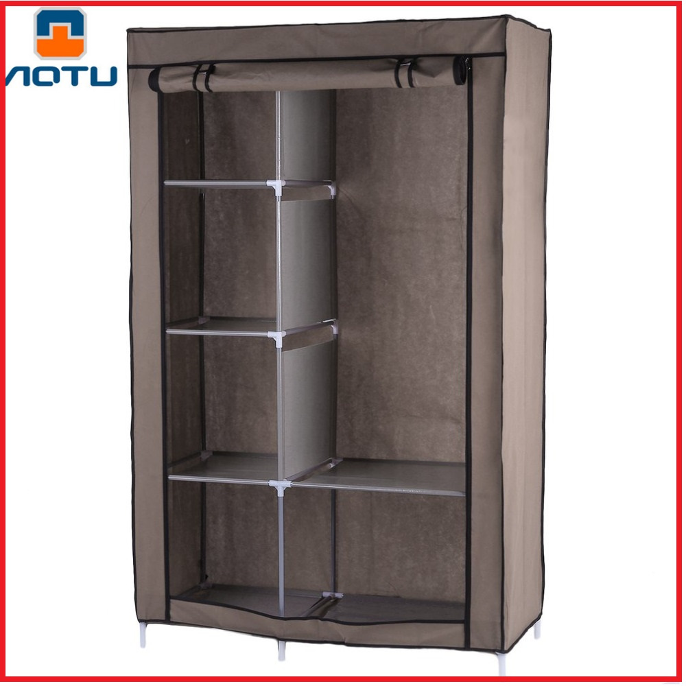 AOTU Portable Wardrobe DIY Anti-dust Moisture-proof Non-Woven Foldable Clothe Storage Cabinet Shelf Closet With Hanging Track non woven wardrobe combination of the overall simple korean wardrobe single wardrobe dust proof small wardrobe dust