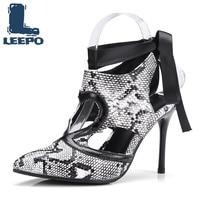 LEEPO Shoes Woman Summer Extreme High Heel Sandals Female Mature Sandles Women Back Snake Strap Pumps Ladies Plus Party Footwear