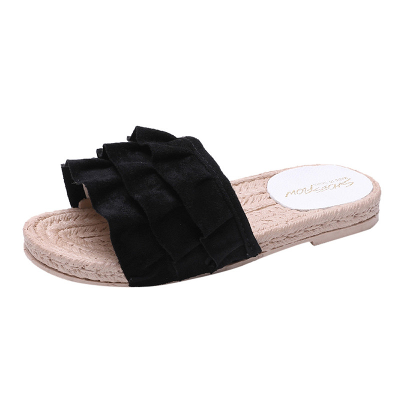 2018 Summer Women Sandals Fashion Solid Color Hollow Out Square Toe Flat Heel Flat Sandals Flip Flops Female Footwear Size 35-40 kemekiss women slippers clip toe flat heel crystal shine women summer shoes fashion korean holidays footwear size 36 40