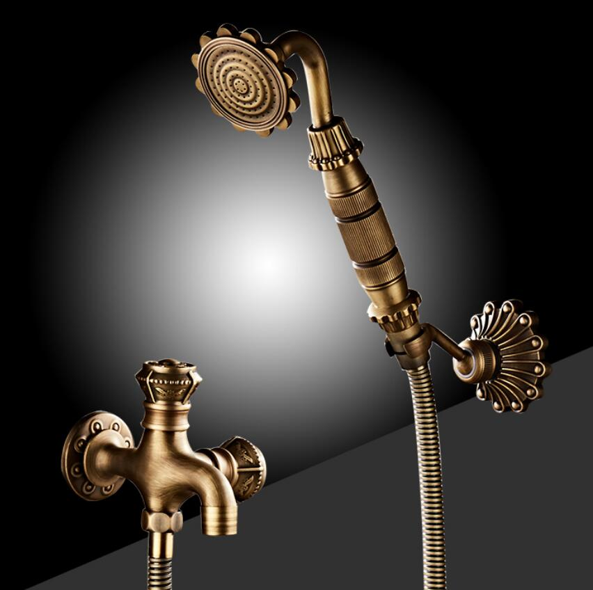 Antique Brass Bidet Faucet Wall Mounted Carved Bathroom Shower Toilet Washing machine Faucet Cold Water with Hand shower Bracket