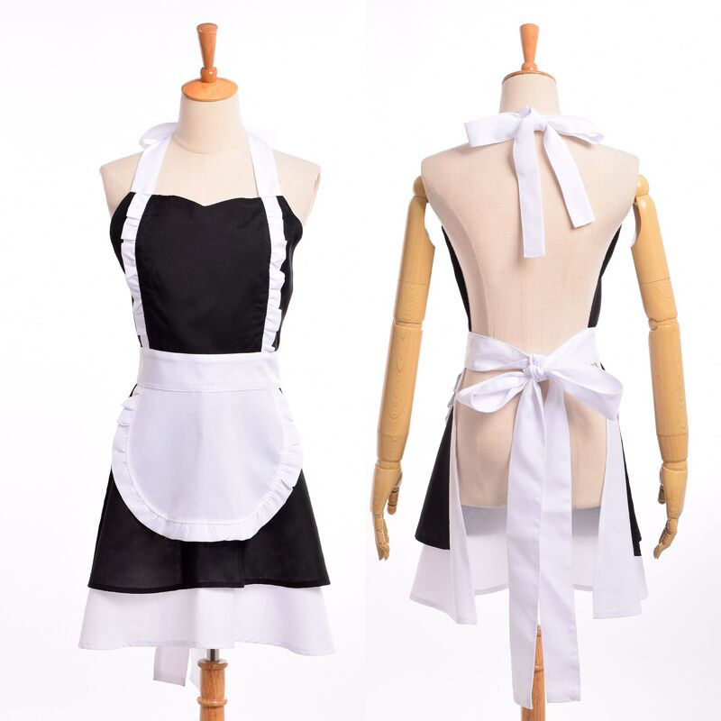 Vintage Lolita Maid Dress Woman Cosplay Cotton Apron French Ruffle Pinafore Coffee Shop Homewear