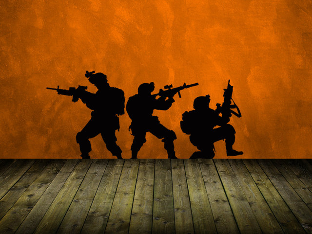 Marines American Soldiers Silhouettes Cool Wall Stickers Art