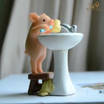 Everyday Collection Home Decor Garden Miniature Animal Figurines Desktop Decoration Cute Pig Figure Toys Gift For Children Eshopini