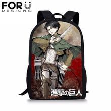 Cartoon Attack on Titan Backpack for Student Anime levi Ackerman Print School Bag Baby Boy Kids Bookbag Notebook Backpack 2019 цена в Москве и Питере