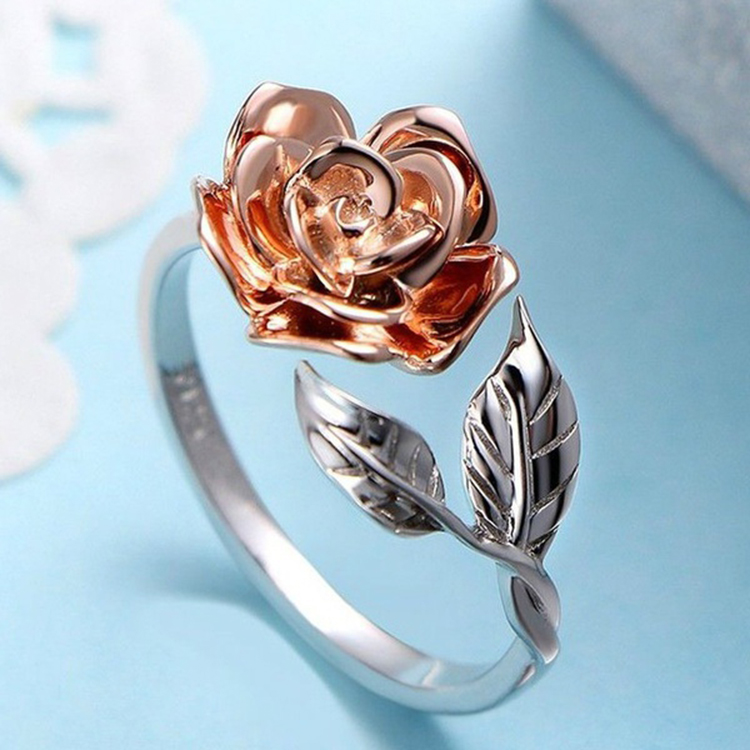 Vintage Red Rose Flower leaf Adjustable Finger Wedding Rings for Women Silver Color Zircon Open Ring Glamour Jewelry Girl Gift(China)