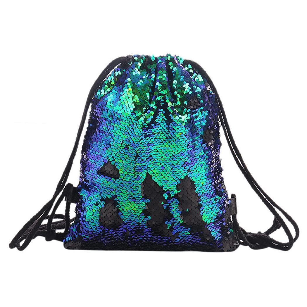 Women Casual Square Patchwork Sequins Drawstring Backpack 2 27.7 X 23cm/10.9 X 9.1inch