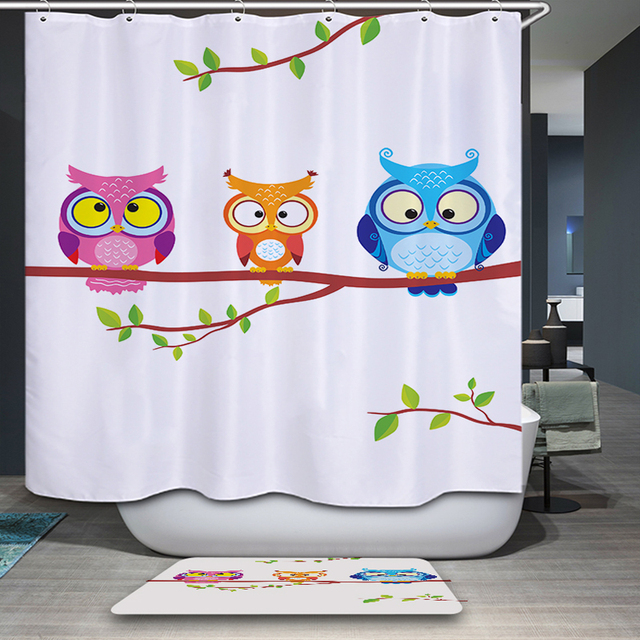 Beau 3D Cartoon Shower Bath Curtain Cute Owls Bathroom Products Waterproof  Fashion Curtain With 12 Hooks