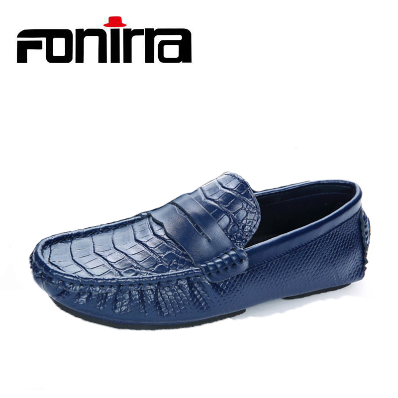 FONIRRA 2018 Autumn Slip On Loafers Men Casual Shoes Fashion Europe Soft Shoes Men New Genuine Leather Casual Shoes 895 fonirra men casual shoes 2017 new summer breathable mesh casual shoes size 34 46 slip on soft men s loafers outdoors shoes 131