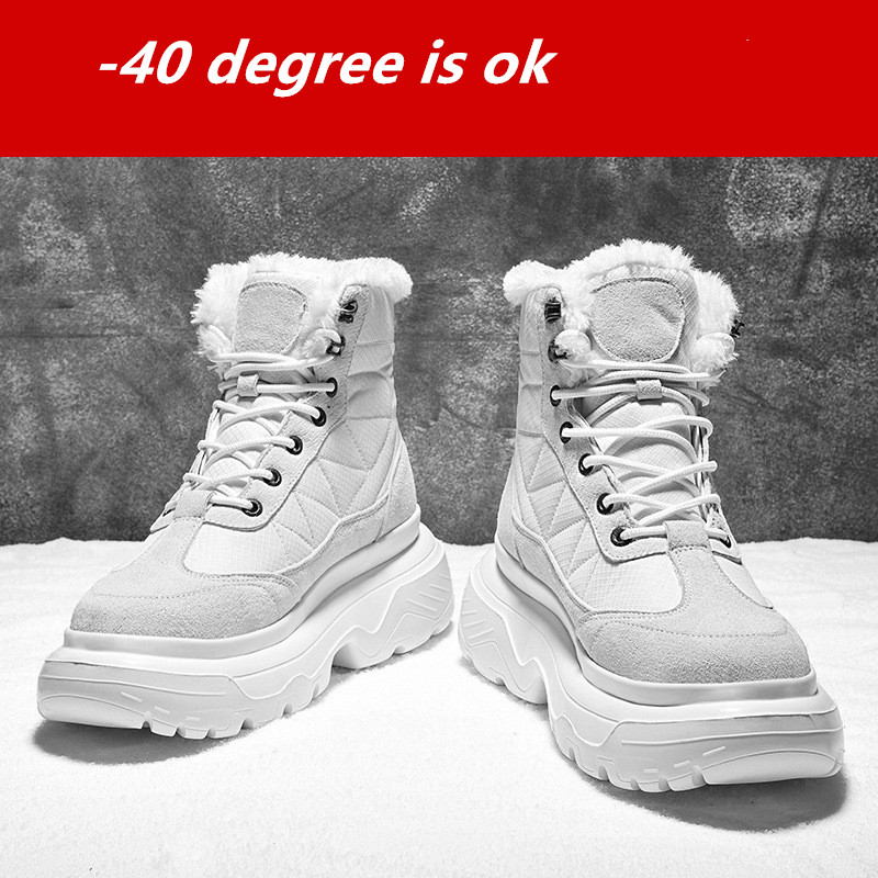 EXCARGO Snow Boots Men Winter Shoes 2019 New High Top Sneakers Platform White Shoes Male Velvet Fur Warm Snow Boots For Men Boot