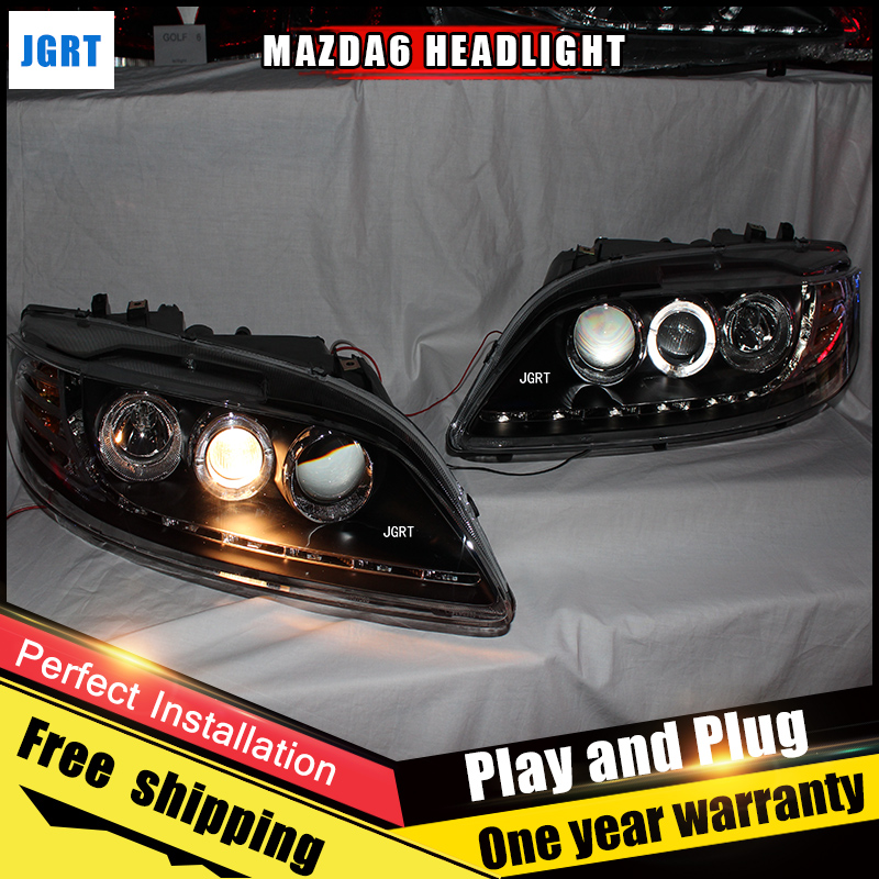 2PCS Car Style LED headlights for Mazda 6 2003-2013 for 6 head lamp LED DRL Lens Double Beam H7 HID Xenon bi xenon lens hireno headlamp for 2003 2009 toyota land cruiser prado headlight assembly led drl angel lens double beam hid xenon 2pcs